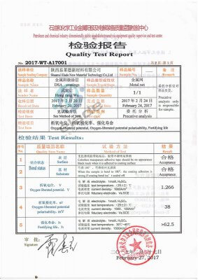 Test report of titanium anode coating composition